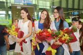 Thời trang sân bay trẻ trung của top 3 HH Hoàn vũ VN