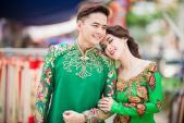 Tú Vi - Văn Anh diện áo dài ngọt ngào sánh đôi