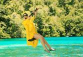 Hoa hậu Giáng My chụp ảnh ở quốc đảo Palau