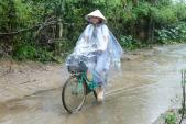 Hoa hậu Phạm Hương đội mưa dầm dề giúp đỡ bà con ở Hà Tĩnh