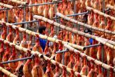 Ấn tượng cảnh dân Trung Quốc phơi đùi lợn xông khói chuẩn bị Tết