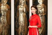 Hoa hậu Mỹ Linh diện áo dài đọ sắc