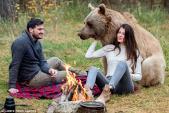 Cặp đôi cắm trại cùng gấu xám to béo, ngoan như cún