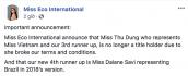Thư Dung tiếp tục bị tước danh hiệu Á hậu Sinh thái Quốc tế