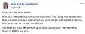 Thư Dung tiếp tục bị BTC tước danh hiệu Á hậu 2