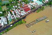Hàng chục nghìn bao cát đổ xuống sông Hậu, cứu quốc lộ 91